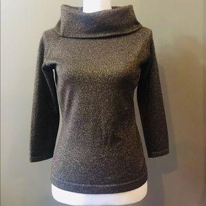 Mint ANN TAYLOR LOFT Gold Sparkle CowlNeck Sweater